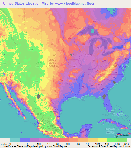 US Elevation Map | Topographic map, Map, Contour