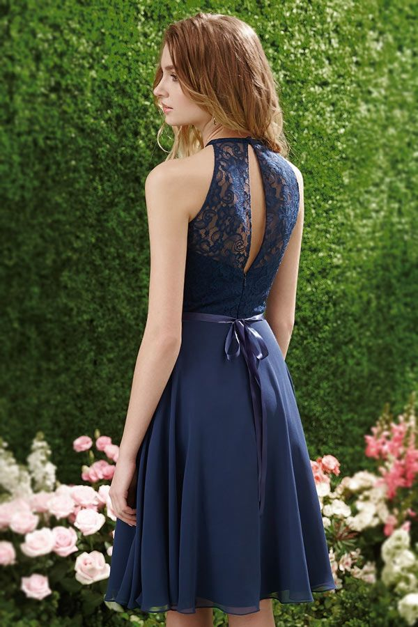 Tendance robe courte bleu nuit chic à col
