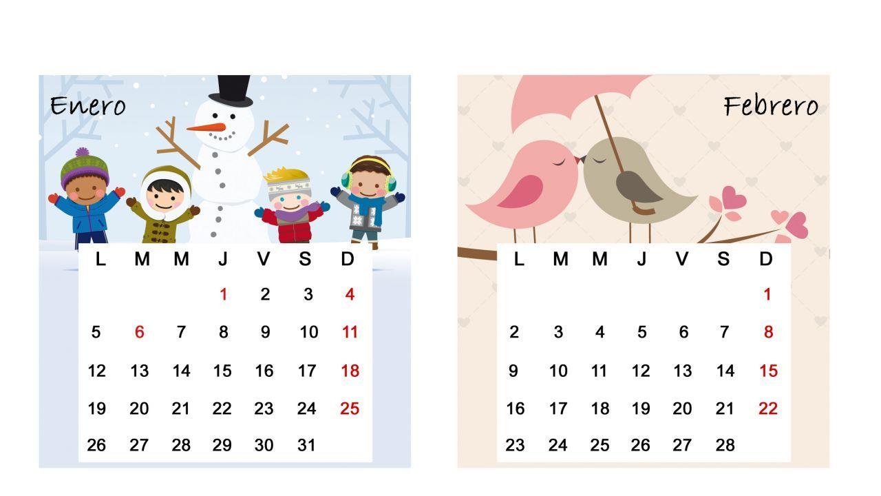 Calendario de mesa del 2015 - Meses de enero y febrero   calendario ...