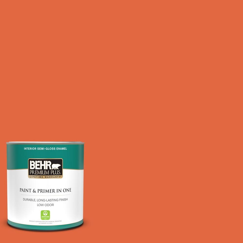 Behr Premium Plus 1 Qt P190 6 Emergency Zone Semi Gloss Enamel Low Odor Interior Paint And Primer In One 330004 In 2020 Interior Paint Behr Exterior Paint