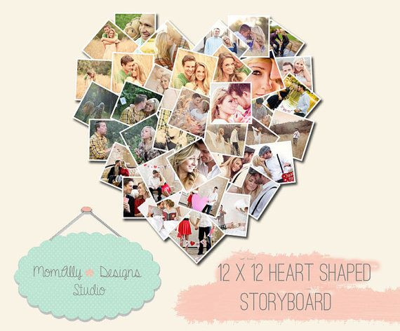 INSTANT DOWNLOAD Heart Storyboard 12x12 Collage by MomAllyDesigns