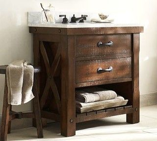 Benchwright Single Sink Console Rustic Mahogany Stain Traditional Bathroom Vanities And Consoles