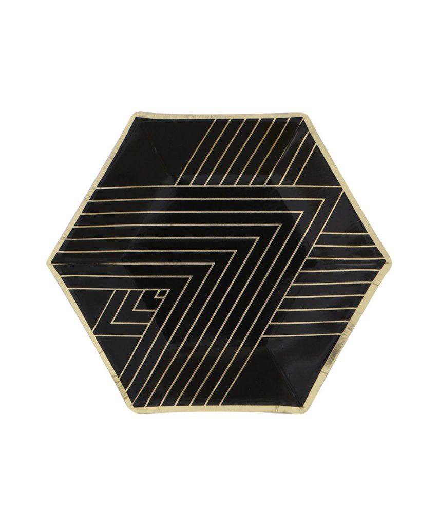 Noir Party Plates Small Black Gold Party Party Plates Black
