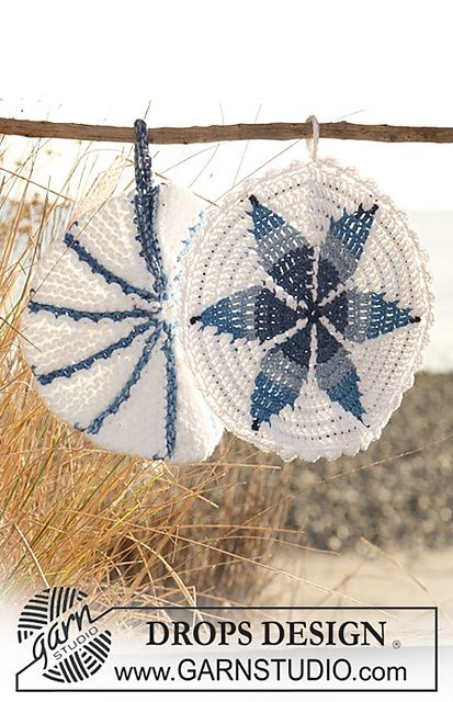 Ravelry 120 56 B Crochet Pot Holder In Muskat Soft And Paris With Star Pattern Pattern By Drops Desig Free Crochet Pattern Crochet Home Crochet Coasters