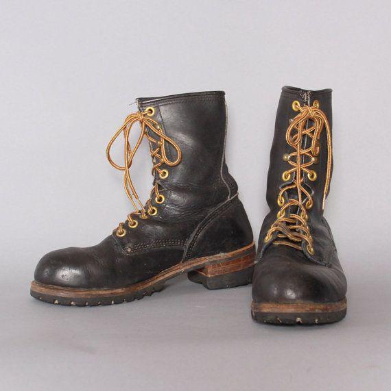 7d0f652b3e4a4 80s MEN'S Black Leather WORK BOOTS / 1980s Steel Toe Carolina Lace ...