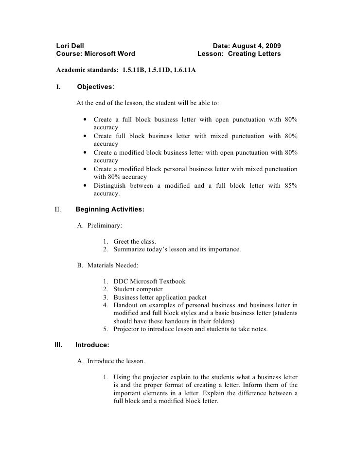 application letter sample modified block style uncategorized - resume lesson plan