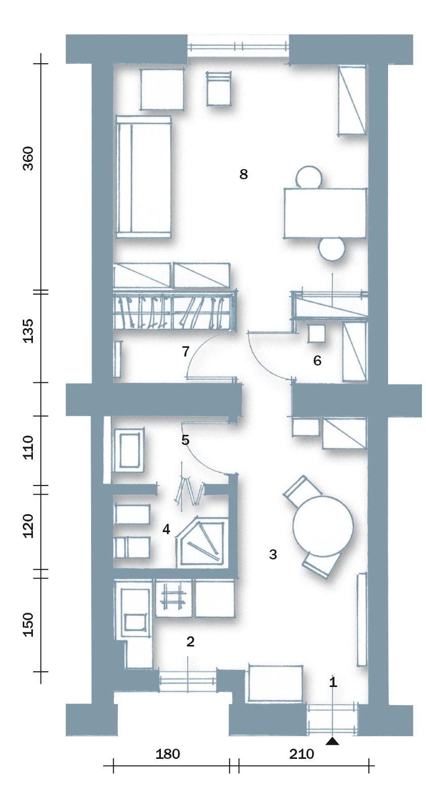 Bilocale di 40 mq, una casa fai da te Appartamenti