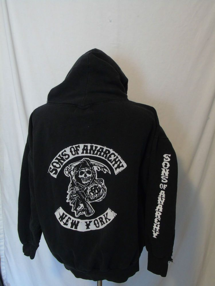 dcde59882 Sons of Anarchy NY Hoodie Sweatshirt SOA New York Mens 2X | Great ...