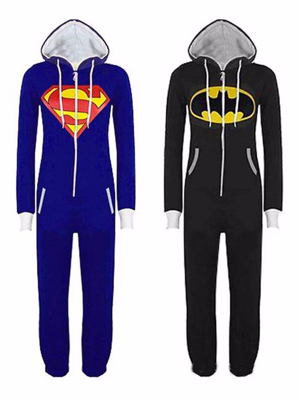 4ef9dbb9d36bf Womens Mens Superman Batman Cosplay Playsuit Ladies All In One Piece  Jumpsuit