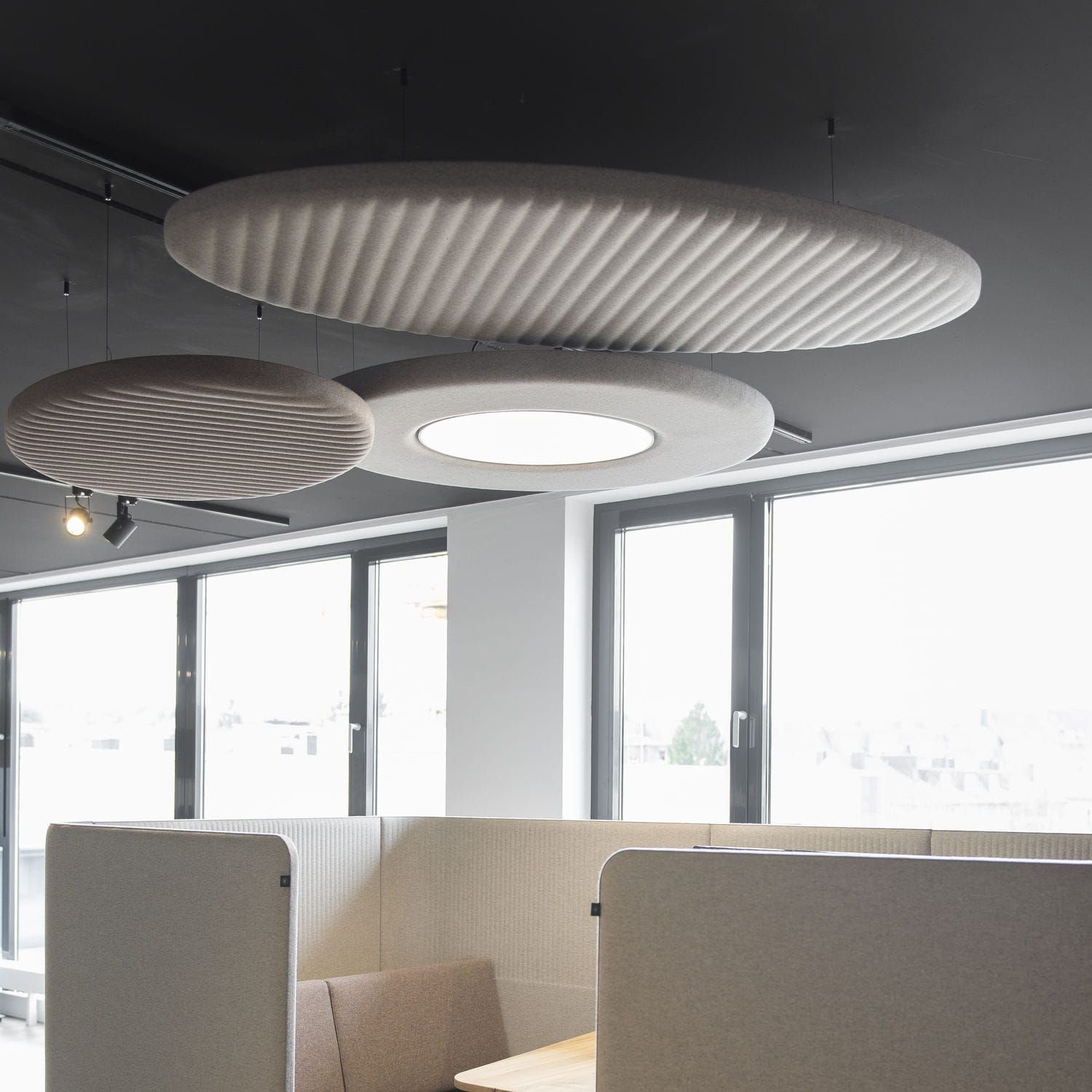 Acoustic Suspended Ceiling Decorative Fabric Floating Buzziland Buzzispace