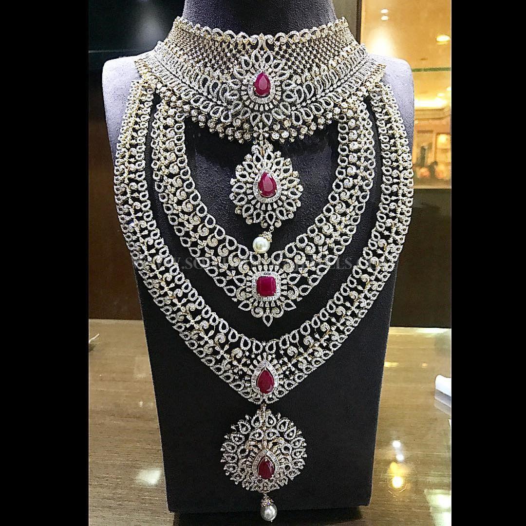 Diamond Bridal Jewellery Set From P. Satyanarayan & Sons | Bridal ...