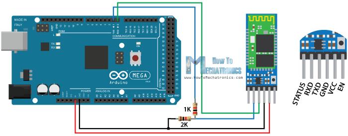 Arduino And HC 05 Bluetooth Module Circuit Schematics