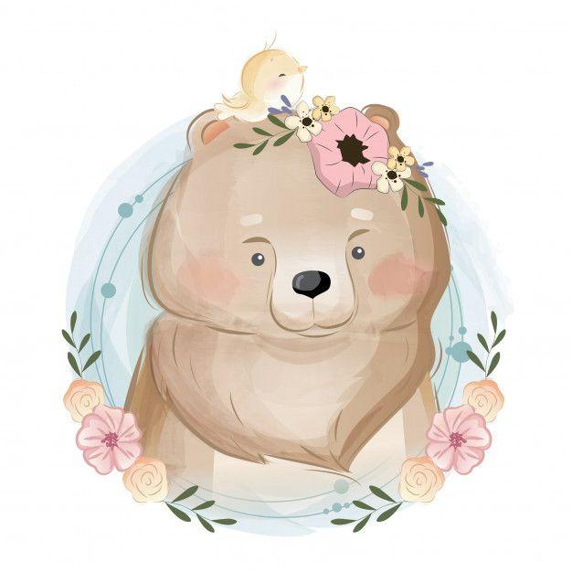 Cute bear portrait Premium Vector