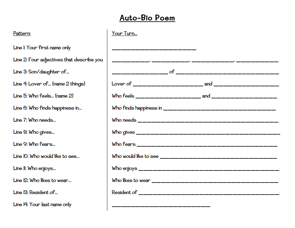 Autobiography Poem  ThTh Grade    Language Arts