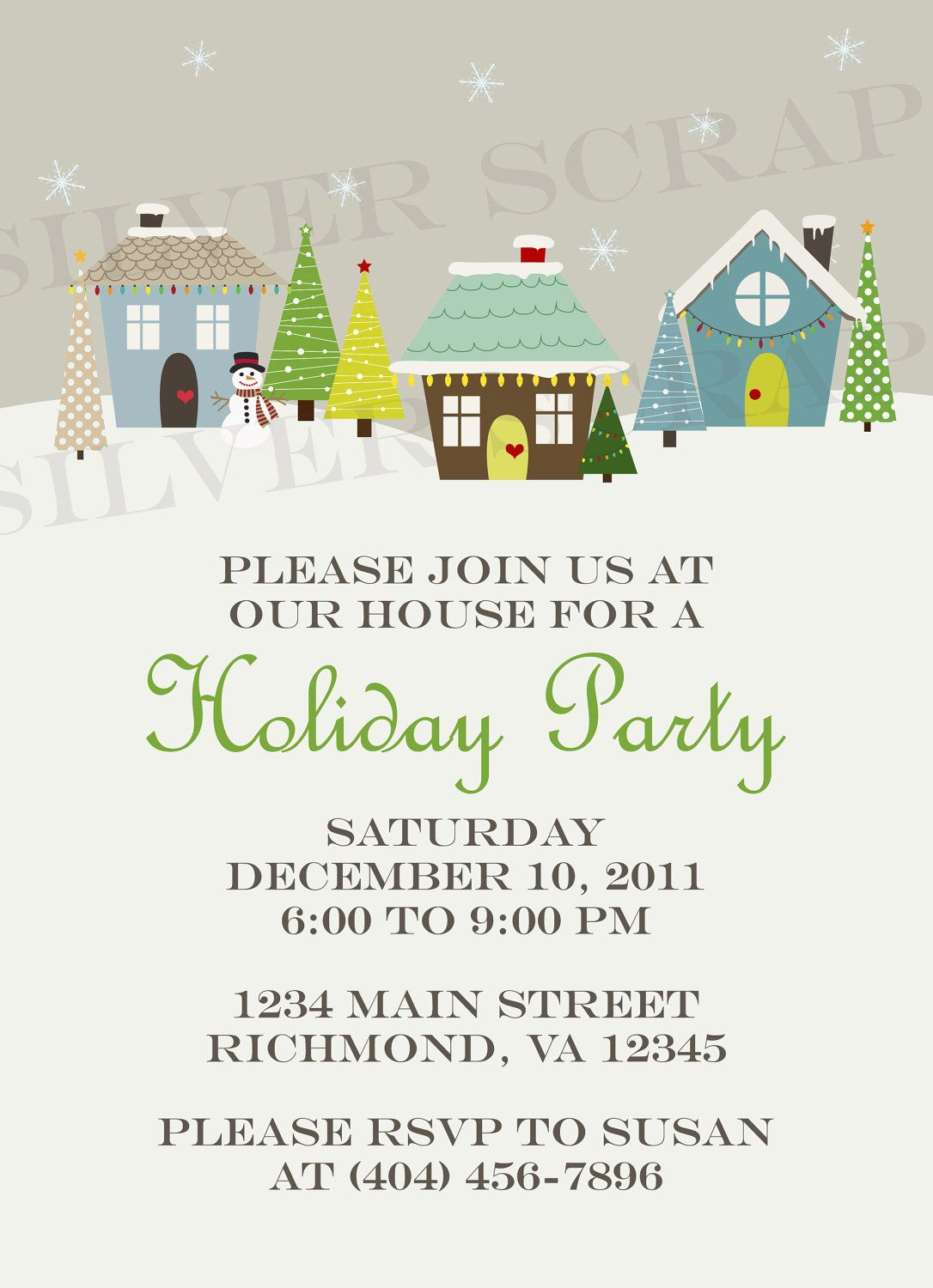 Custom Holiday Houses Christmas Party Invitation - Winter, Snow ...