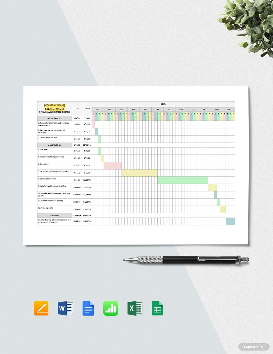 Residential Construction Project Schedule Template Word Excel Apple Pages Google Docs Google Sheets Apple Numbers Schedule Template Templates Postcard Template Free