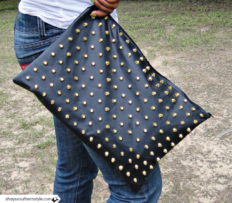 DIY Vinyl leather studded clutch  a6870122446aa