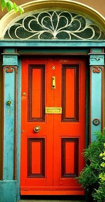 Red Orange Door With Eggshell Blue   Color Of The Month September 2012    Tangerine Dreams, Red Orange Home Decor Ideas And Inspiration   Update  Dallas