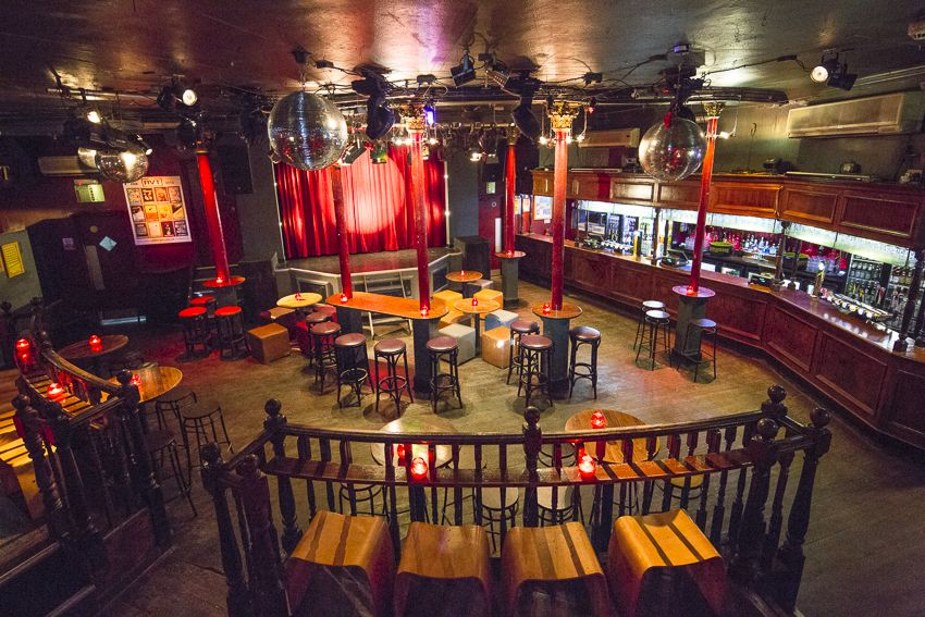 Royal Vauxhall Tavern // Could be cool; gay bar with a stage flanked by a  mezzanine seating area.
