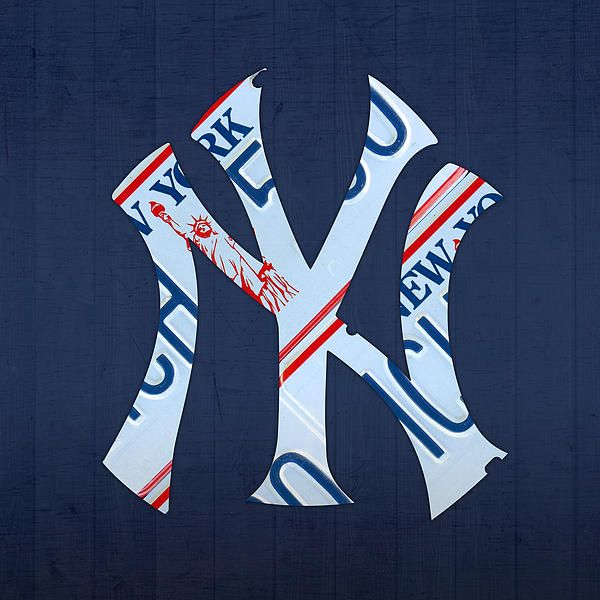 New York Yankees Baseball Team Vintage Logo Recycled Ny License Plate Art By Design Turnpike In 2020 License Plate Art Logos Vintage Logo