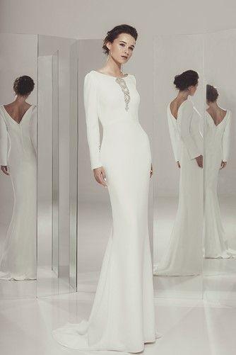 Alejandra - Ivan Campaña - Vestido de novia evase con manga larga #novias #mangas #noviassencillas #noviasespeciales #ivancampaña