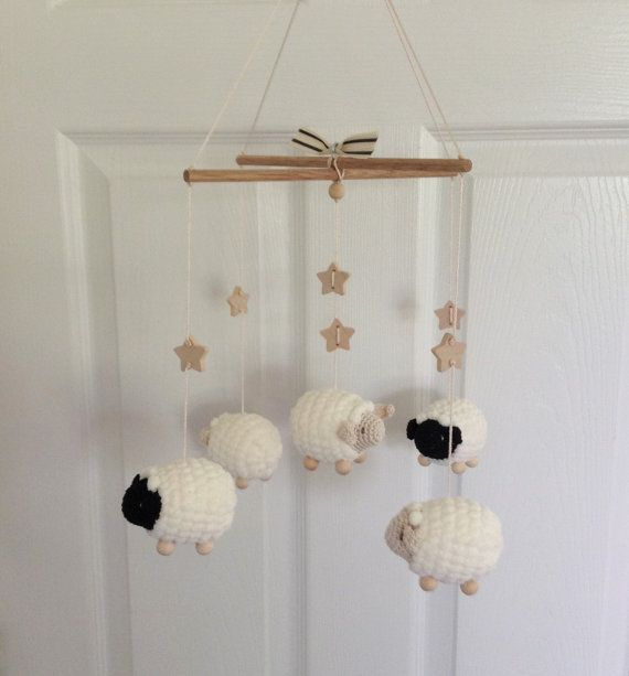 Baby Mobile Nursery Mobile Sheep Mobile Lamb Mobile Crochet