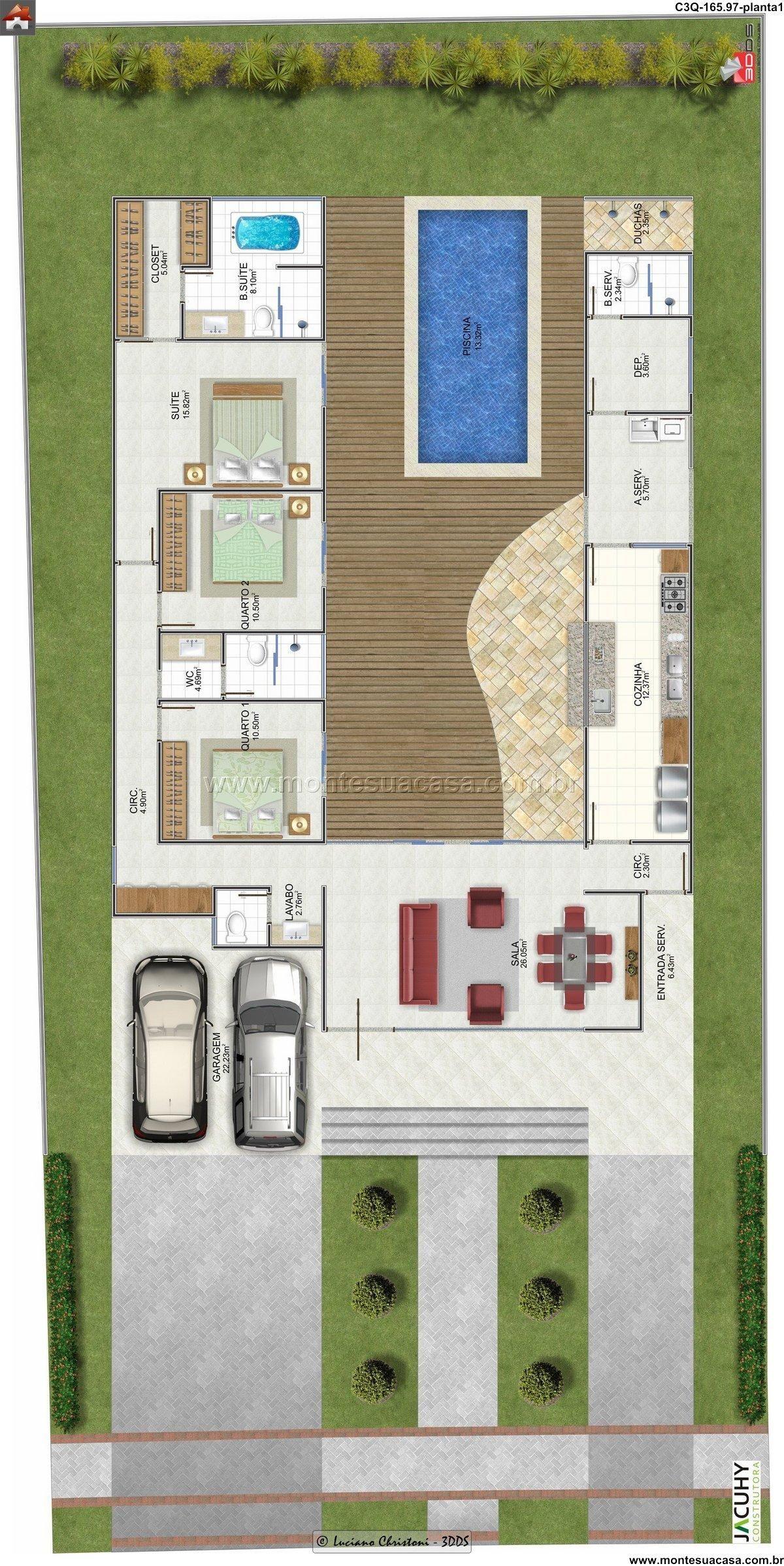 Planta de casa 3 quartos monte sua casa for Casa con piscina
