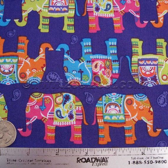 BOHEMIAN ELEPHANTS Purple Orange Lime Pink Cotton Quilt Fabric by ... : quilting fabric india - Adamdwight.com