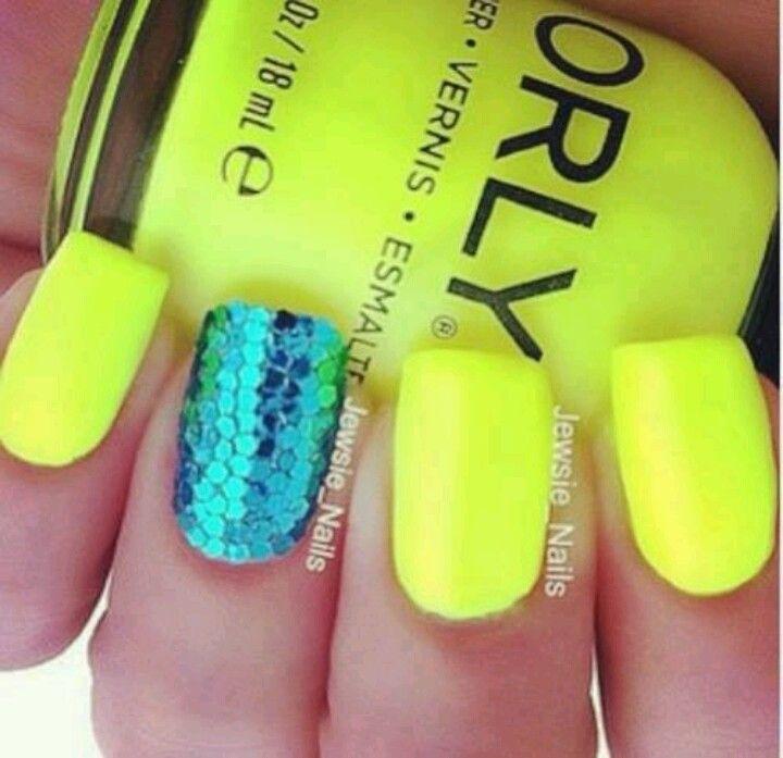 Uñas neon con cola de sirena. | Myfav color YELLOW | Pinterest ...