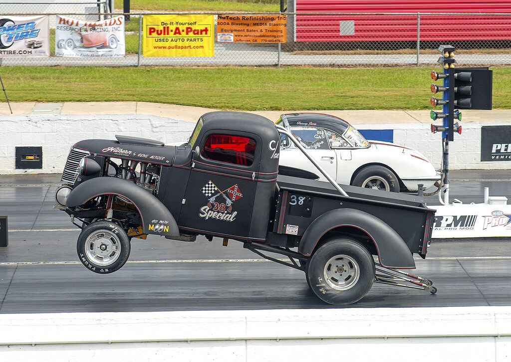 "The ""38 Special"" 1938 Chevy pickup Gasser on the wheelie"