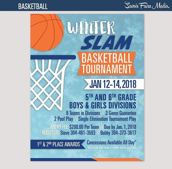 Basketball Tournament Flyer Invitation Winter Poster Template