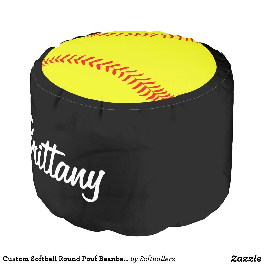 Custom Softball Round Pouf Beanbag Chair Add Your Own Player Name Or Team To Customize It Would Look Great In The Room Bedroom Clubhouse