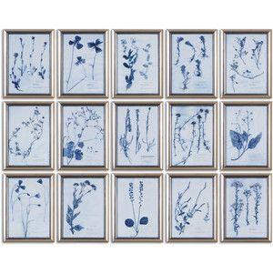 Bria Modern Classic Blue Floral Botanical Prints - Set of 15