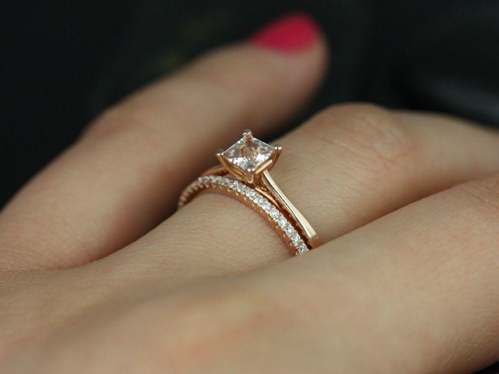 Rosados Box Ultra Petite Gallina 4mm Barra Rose Gold Princess Morganite And Diamonds Wedding Set