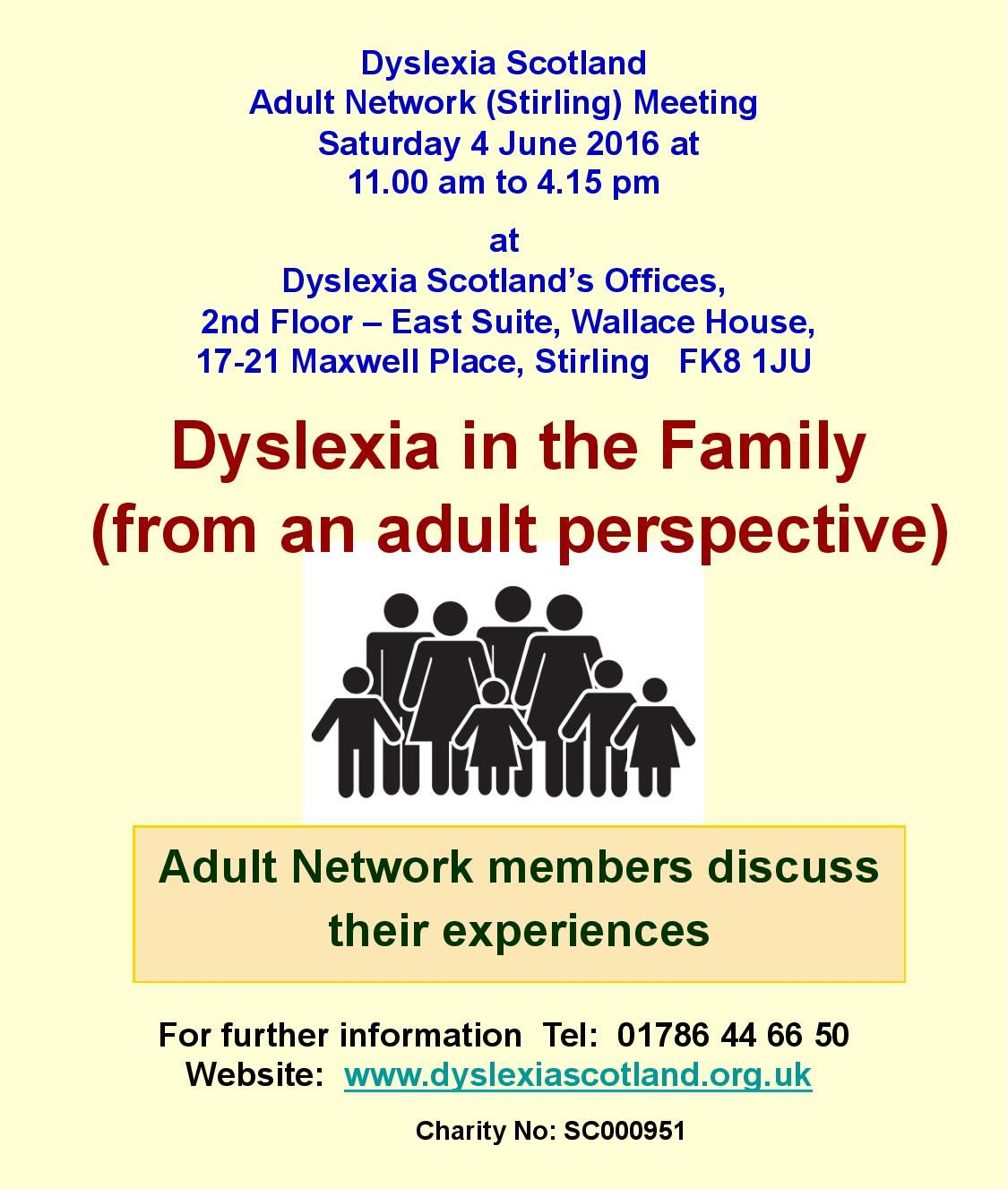 Dyslexia Scotland Adult Network Stirling Next Meeting Sat Am To