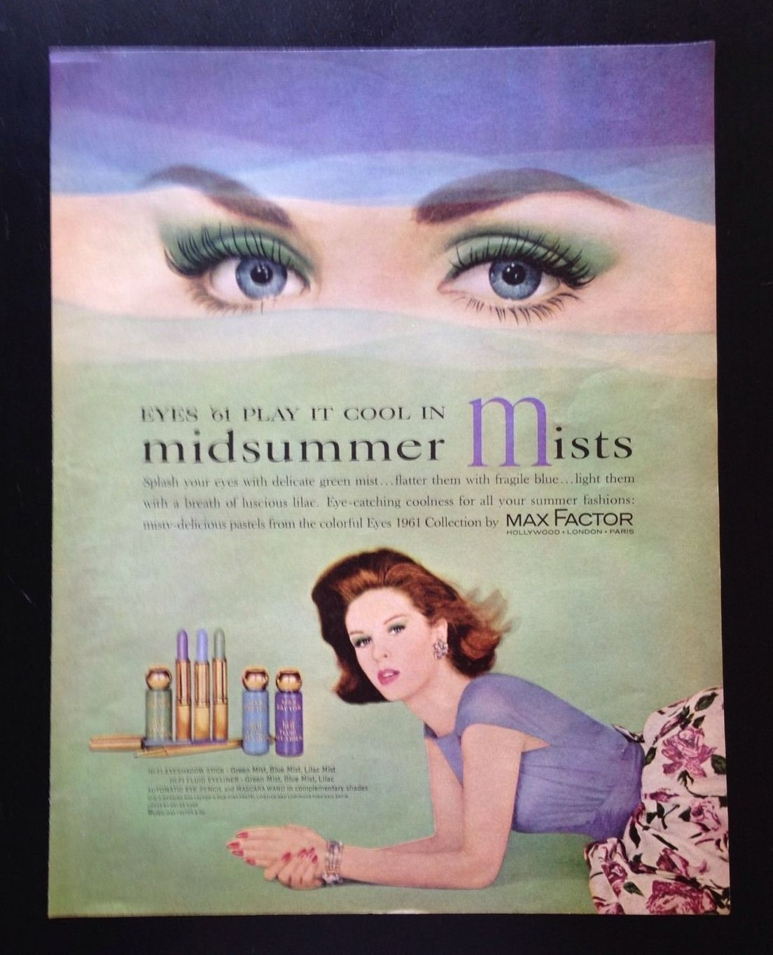 1961 Max Factor Makeup Misty Pastels Green Eyeshadow 60 S Style