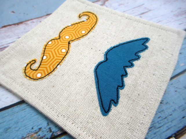 Retro Style Moustache Coasters - Gift for Him - Fabric Drinks Coasters  £12.00