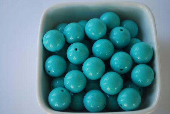 Teal 20mm chunky bead, bubblegum bead, chunky necklace, 20mm bead, 20mm teal bead, DIY chunky - amazing world of handmade gifts