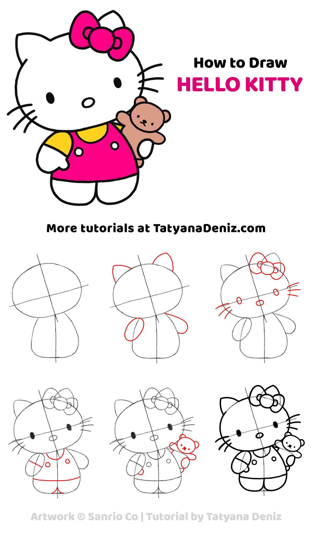 Easy Step By Step Drawing Tutorial To Learn How To Draw Hello Kitty Click The Pin For More Free Drawing Tut Zeichnen Basteln Lernen Zeichnung Zeichnen Einfach