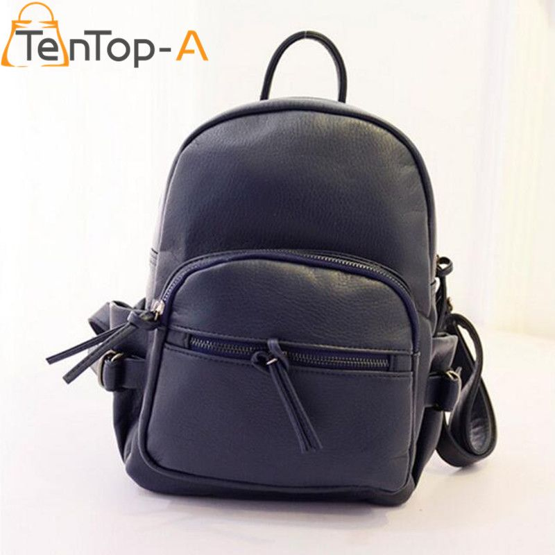 TenTop-A New Fashion Waterproof PU Leather Zipper Shoulder Bags Students  Preppy Style Leisure Solid ea64f7fa1d57b