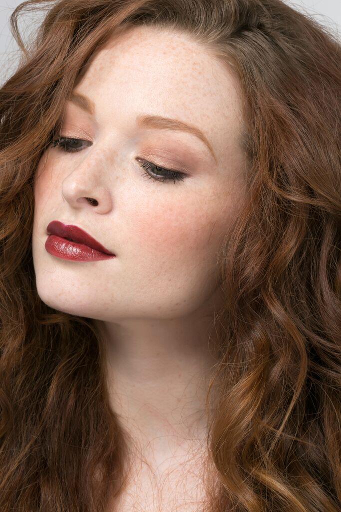 Beautiful skin, minimal makeup, dramatic lip Luxury