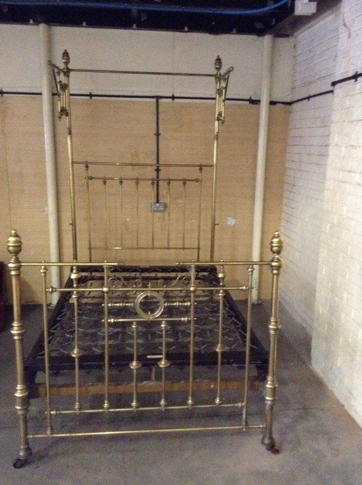 Stunning Victorian Brass Original Half Tester Double Bed