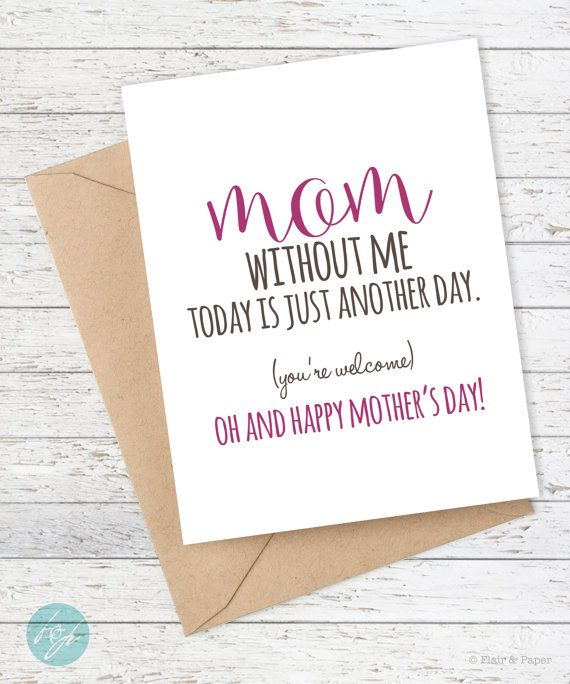 Funny Mother's Day Card Mom Card Mom Love Mom By FlairandPaper