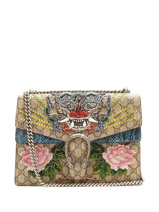 a719c13a972 GUCCI Dionysus Gg Supreme Embellished Large Shoulder Bag.  gucci  bags  shoulder  bags  crystal  canvas  suede  lining