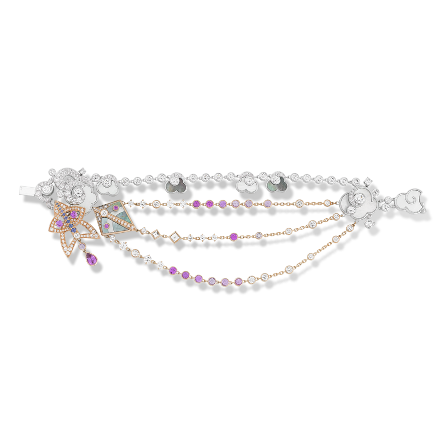 Van Cleef & Arpels Cerfs-Volants Bracelet, Small Model – Virtuoso jewelry techniques embellish a lively, bold and poetic aesthetic on this bracelet in pink gold, pink and mauve sapphires, white gold, white and grey mother-of-pearl and diamonds.