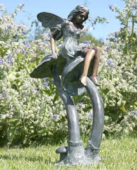 Flower Fairy Sitting On A Toadstool Bronze Flower Fairy Garden Statue