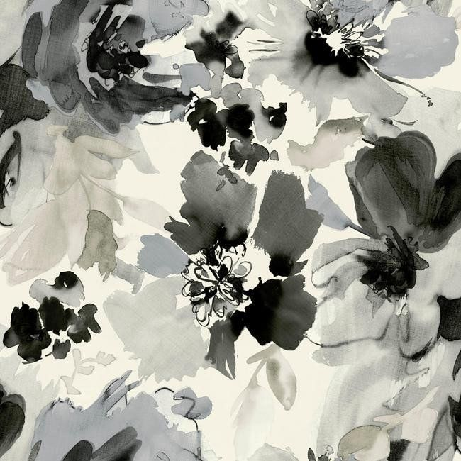 Aquarella Wallpaper In Black And White Design By Stacy Garcia For York