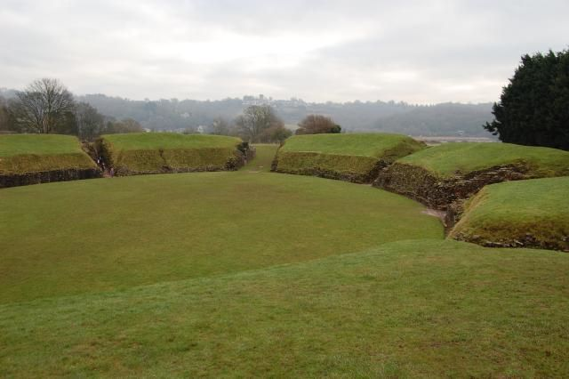 Remains of the Roman amphitheater at Caerleon, Wales. It's really in good condition for being around 2000 years old.