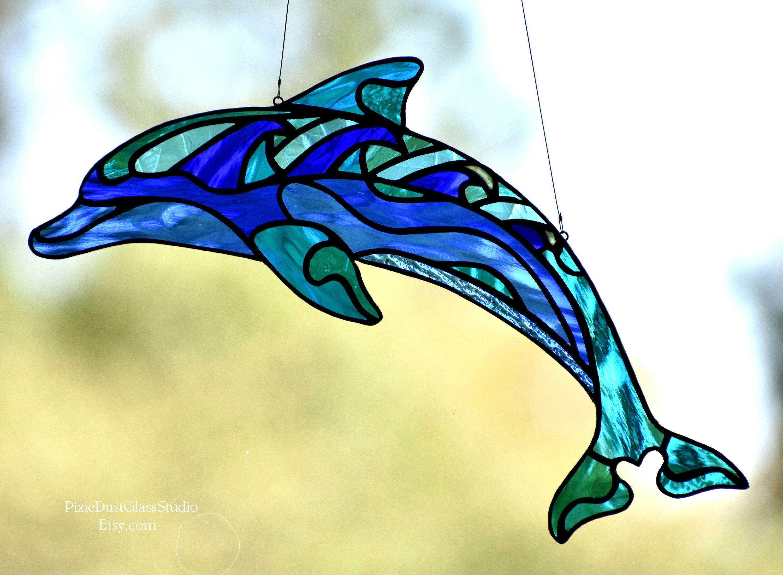 Stained Glass Dolphin Suncatcher, Abstract Dolphin, Dolphin Sun ...