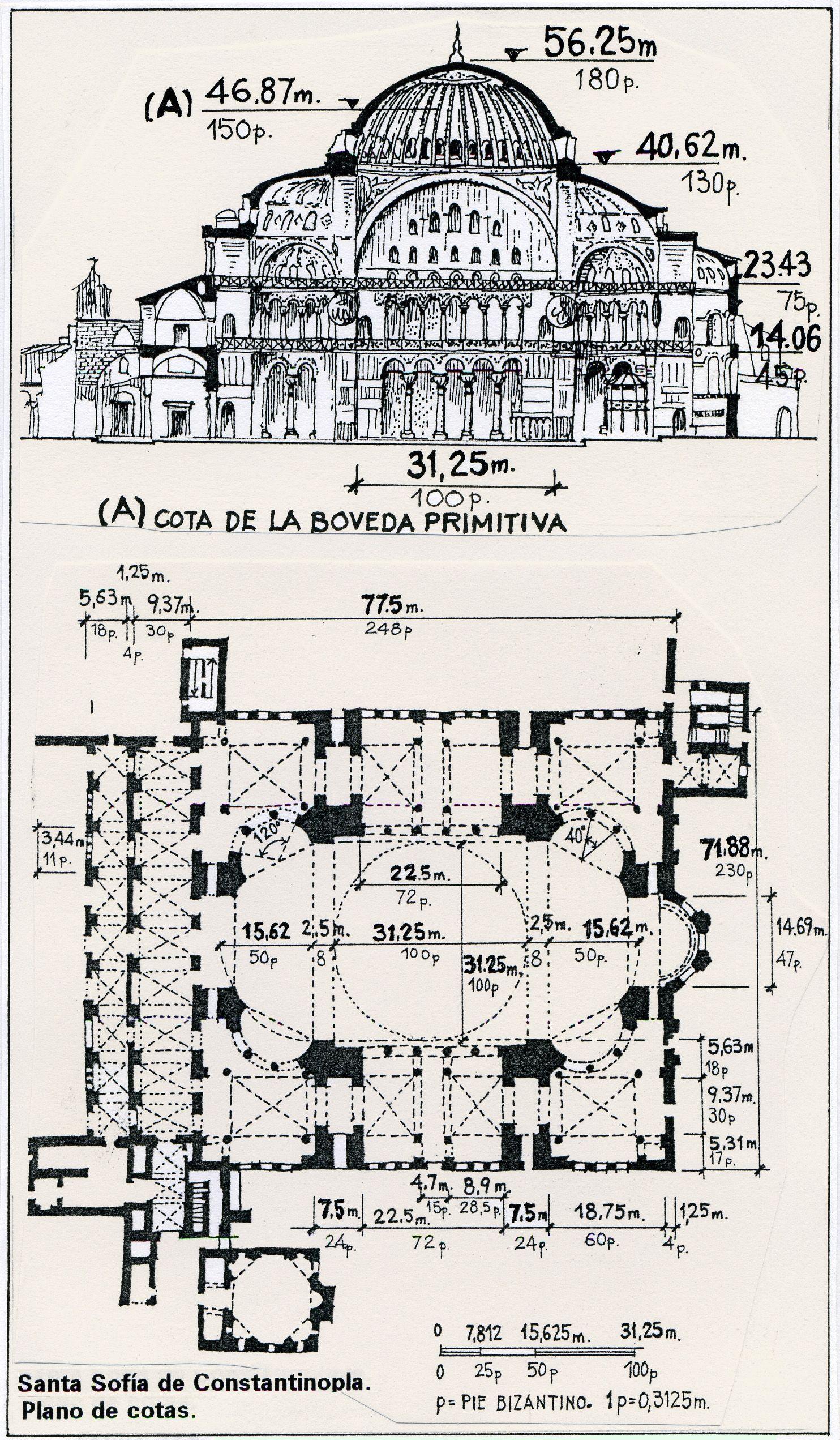 Santa Sof A De Constantinopla Plano De Cotas